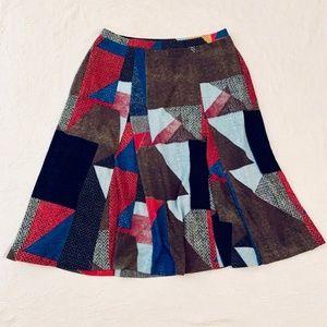 Maeve Cubist Sweater Knit Soft Skirt Size L